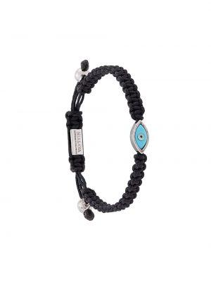 Черный нейлоновый браслет с камнями Nialaya Jewelry