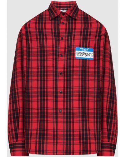 Рубашка в клетку - красная Vetements