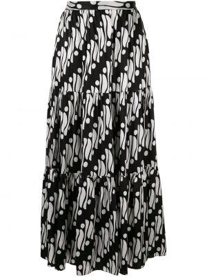 Черная приталенная расклешенная ажурная юбка макси Andrew Gn
