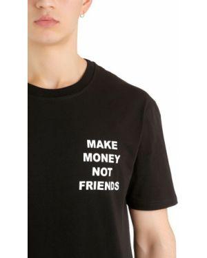 T-shirt z printem - czarna Make Money Not Friends