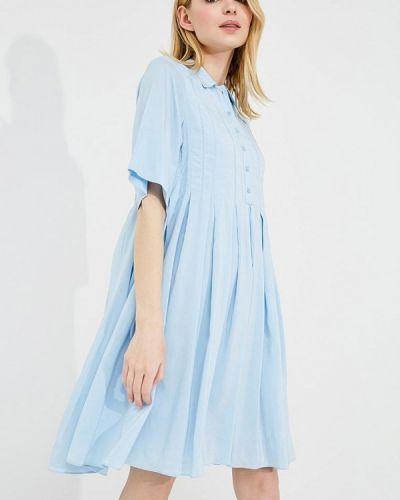 Голубое платье с длинными рукавами Carven