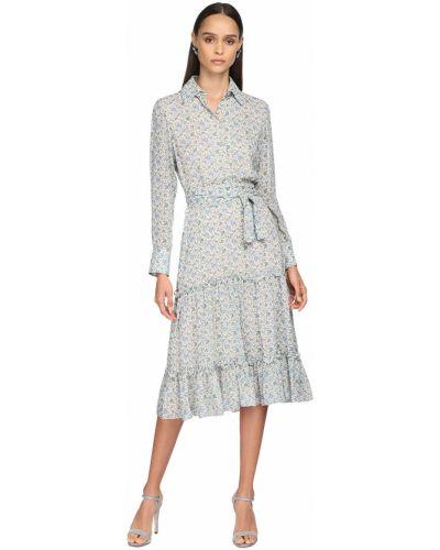 Бежевое платье макси с длинными рукавами с поясом Luisa Beccaria