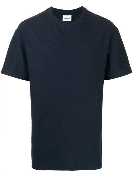 Прямая хлопковая синяя футболка с круглым вырезом Soulland
