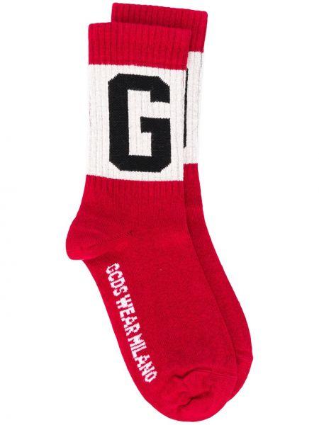 Красные носки жаккардовые в рубчик Gcds