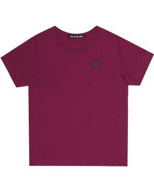 Ватная хлопковая розовая футболка Acne Studios Kids