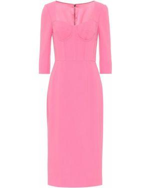 Приталенное розовое платье миди Dolce & Gabbana