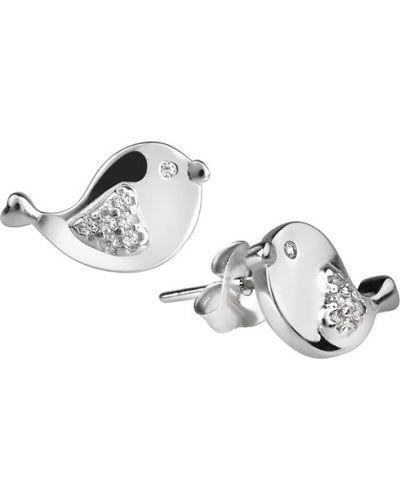 Серебряные серьги серьги-гвоздики с фианитом Sandara