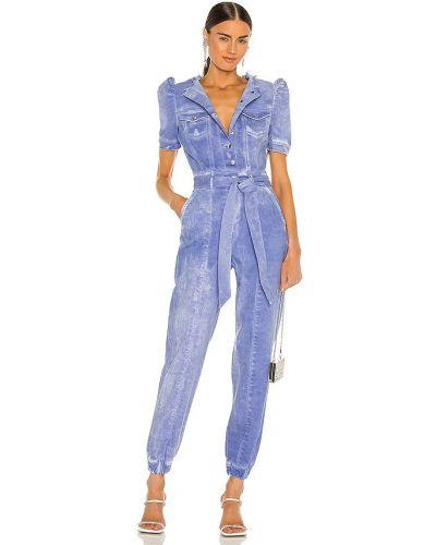 Niebieski kombinezon jeansowy bawełniany z paskiem Retrofete