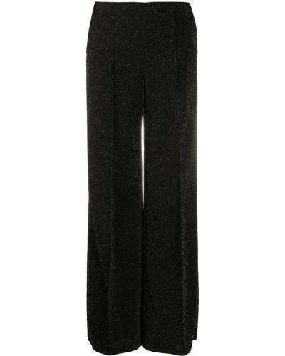 Черные брюки свободного кроя с высокой посадкой из вискозы Dondup