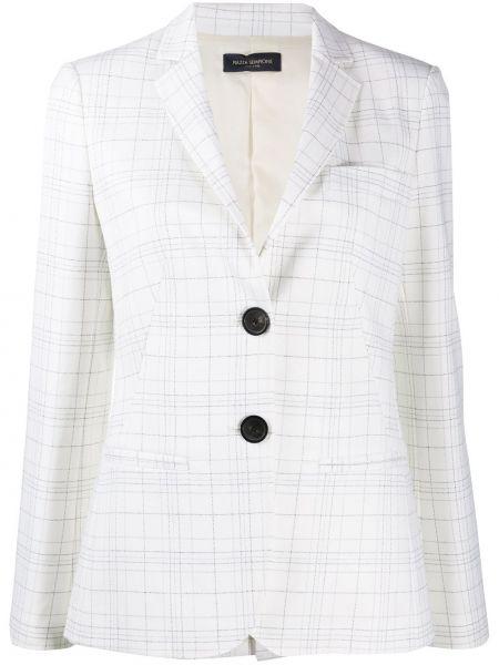 Приталенный белый удлиненный пиджак в клетку Piazza Sempione