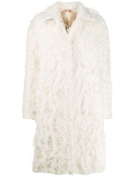 Шерстяное белое длинное пальто с воротником N°21