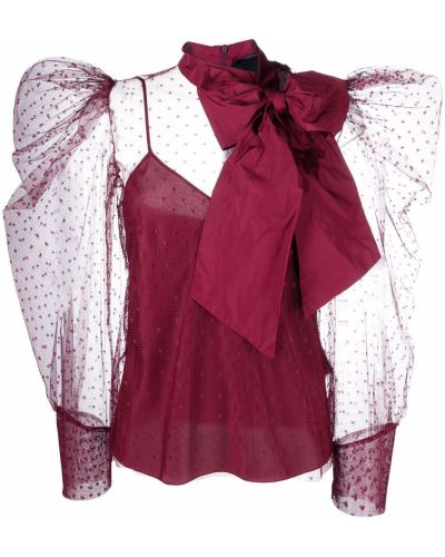 Bluzka z siateczką tiulowa Red Valentino