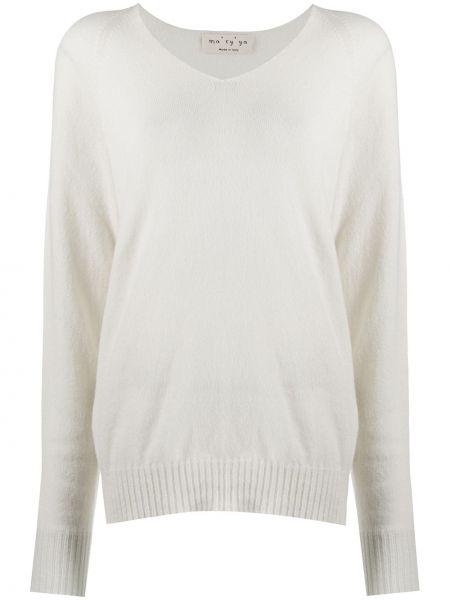 Свободный шерстяной белый длинный свитер Ma'ry'ya