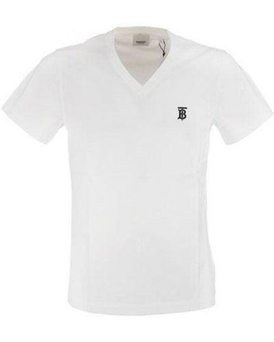 Biała koszula z haftem wełniana Burberry