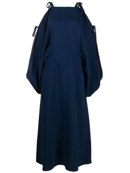 Синее платье миди с вырезом квадратное из вискозы Prada