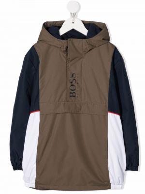 Parka khaki - biała Boss Kidswear
