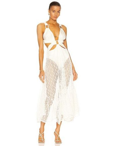 Сатиновое платье с подкладкой айвори Patbo