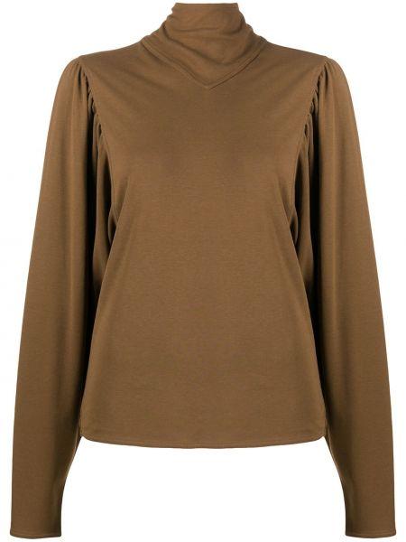 Bawełna z rękawami prosto brązowy top Lemaire