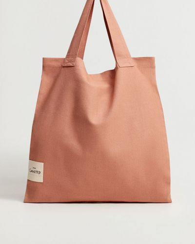 Różowa torba z krótkimi uchwytami bawełniana Mango