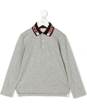 Асимметричная рубашка на пуговицах Gucci Kids