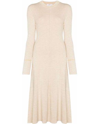 С рукавами трикотажное вязаное платье миди Victoria Beckham
