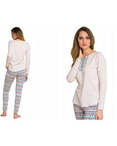 Beżowa piżama bawełniana z długimi rękawami Key