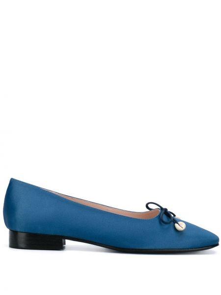 Синие кожаные балетки с квадратным носком Leandra Medine