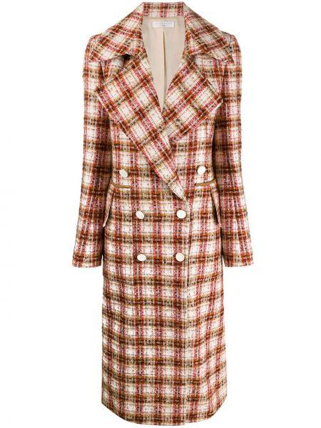 Шерстяное белое длинное пальто с капюшоном Victoria Beckham