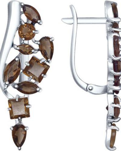 Серебряные серьги с топазом яркие Sokolov