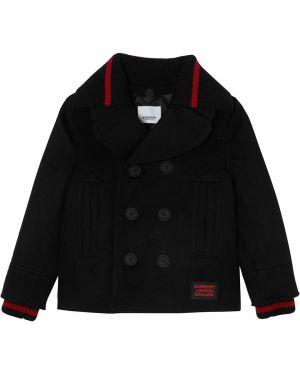 Черное шерстяное пальто на пуговицах двубортное Burberry Kids