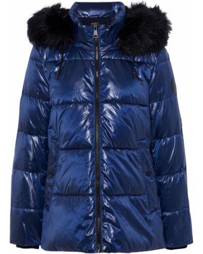 Синяя куртка с капюшоном из искусственного меха Dkny