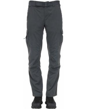 Серебряные прямые брюки с поясом с пряжкой новогодние Columbia