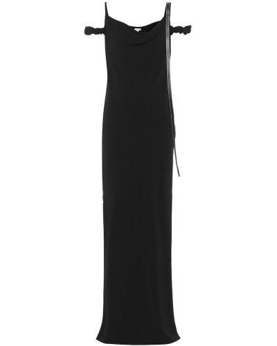 Платье макси кожаное черное Loewe