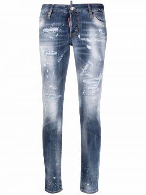Силиконовые синие зауженные джинсы с заплатками Dsquared2