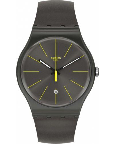 Серые силиконовые часы водонепроницаемые Swatch