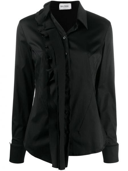 Черная приталенная блузка с длинным рукавом на пуговицах с манжетами Balossa White Shirt
