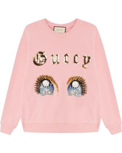 Худи розовый с надписью Gucci
