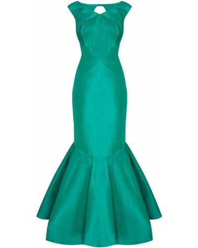 Шелковое зеленое вечернее платье Zac Posen