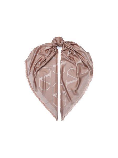 Бежевая шелковая шаль Valentino