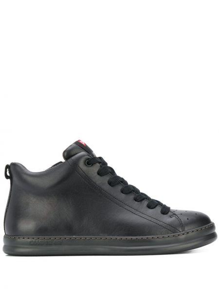 Кожаные черные высокие кроссовки на молнии с заплатками Camper
