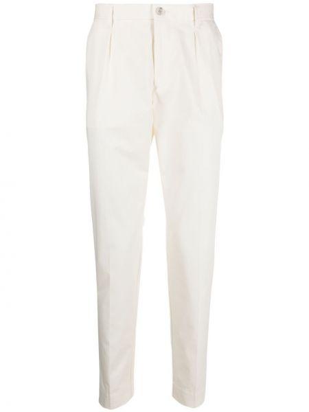 Beżowe spodnie bawełniane z paskiem Boss Hugo Boss