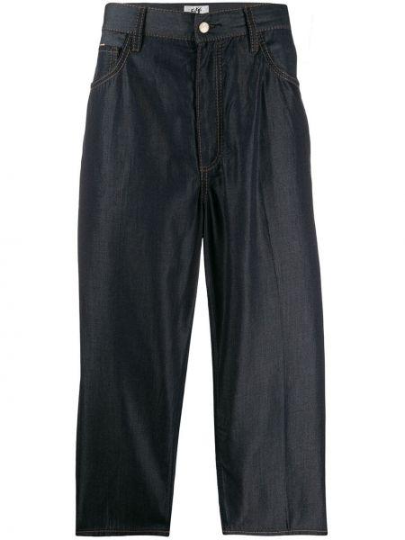 Niebieskie spodnie materiałowe z paskiem Eytys