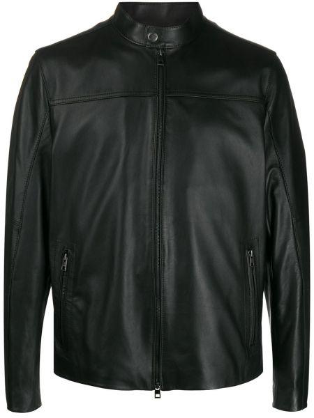 Кожаная куртка длинная - черная Michael Kors