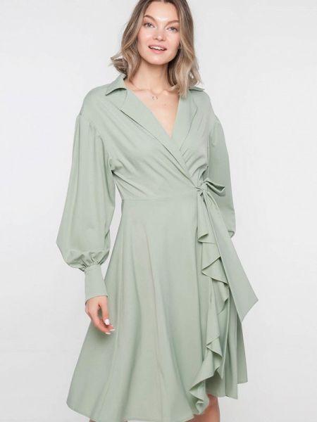Платье с запахом зеленый Лимонти