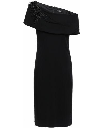 Черное платье в бусинах Badgley Mischka