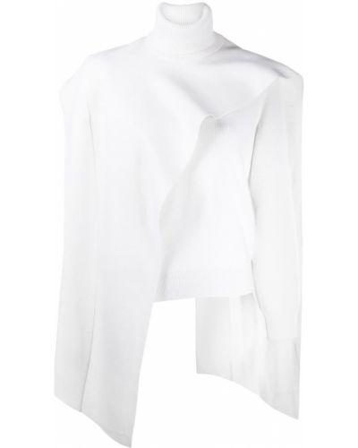 Белый с рукавами шерстяной кейп Givenchy