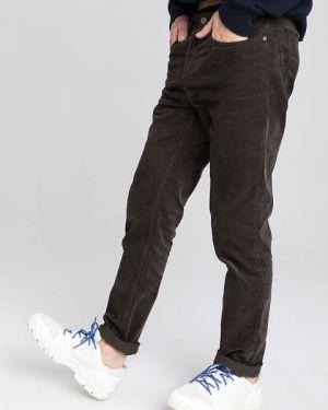 Коричневые брюки с карманами вельветовые Ostin