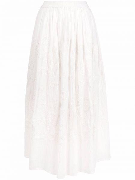 Белая хлопковая юбка с вышивкой Diega