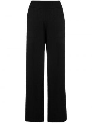 Кашемировые черные брюки в рубчик с поясом Barrie