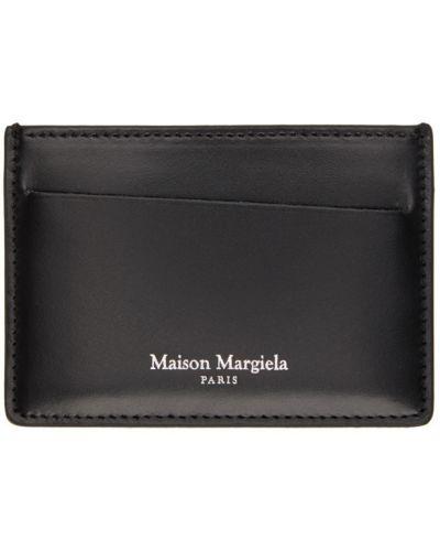 Czarny wizytownik z prawdziwej skóry prążkowany z gniazdem Maison Margiela